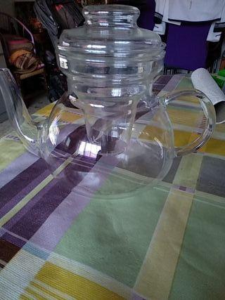tetera de cristal con filtro