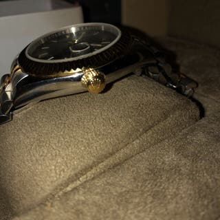 Rolex oyster perpetual silver gold black dial