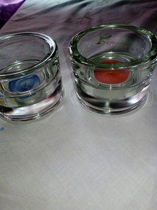 porta velas de cristal grueso