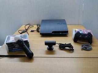 PS3 slim, cámara y mando para just dance