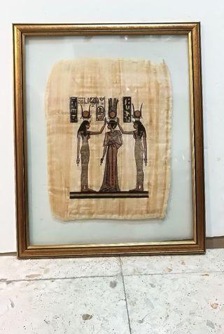 Cuadro egipcio papiro auténtico 63 cm