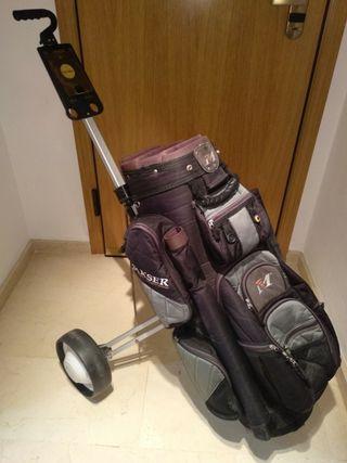 carro + bolsa de palos de golf