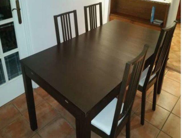 Mesa comedor extensible ikea con 4 sillas de segunda mano por 175 ...
