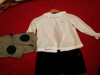 Chaqueta- pantalon de Zara 9-12M y blusa talla 12M