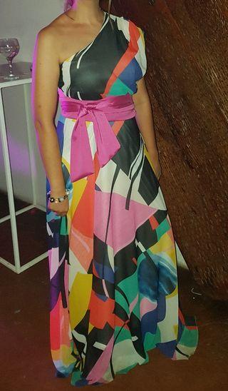 Vestido fiesta multicolor