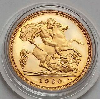 Gold Half soveriegn coin 1980