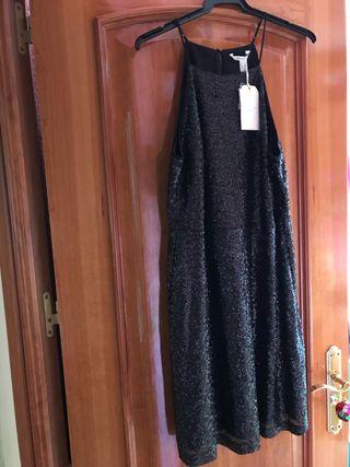 Vestido NUEVO lentejuelas negro Springfield
