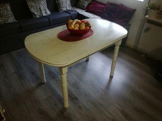 Mesa de cocina extensible. Madera efecto marmol.