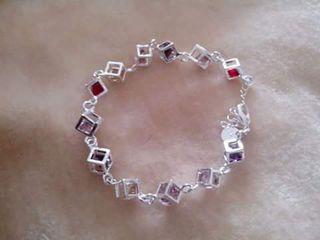 pulsera cuadraditos plata