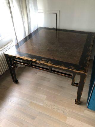 Table basse en bois et plateau pierre Italienne