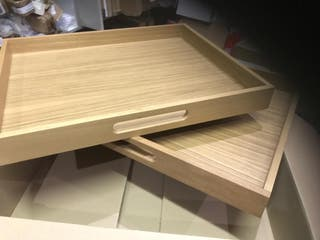 2 X Large wooden Tea Trays
