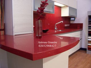 Red Starlight Quartz Kitchen Worktop In London UK