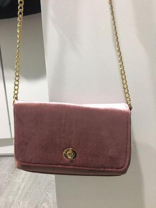 bolso tercipelo rosa