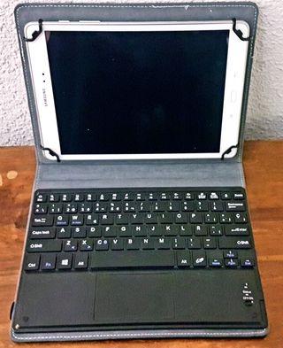 Tablet Samsung Galaxy con teclado inalámbrico.