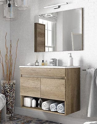 Mueble lavabo baño con espejo y lavamanos