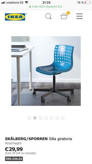 En De Madrid Ikea Y Por Mano Giratoria Azul € Segunda Silla 20 Negra SUMpqzV