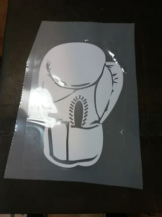vinilo blanco boxeo de medida 9,7 x 14,5cm