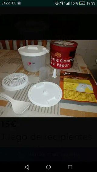 juego de recipientes y utensilios para microondas