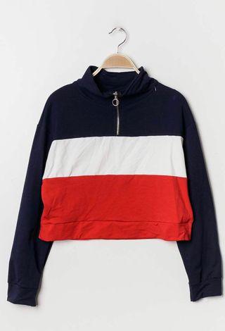 Sweat bleu blanc rouge style 90'