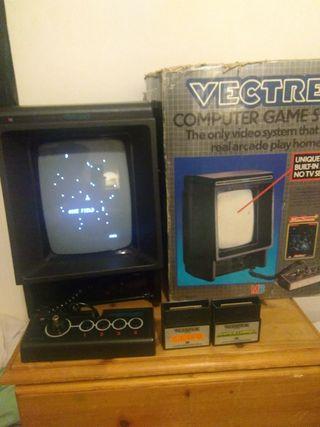 vectrex console & 2 games