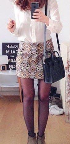 Minifalda jacquard dorada Zara