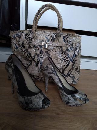 zapatos tacon y bolso print animal nuevo
