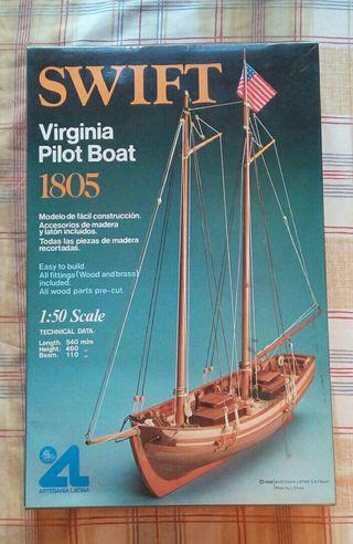 Maqueta barco madera vintage
