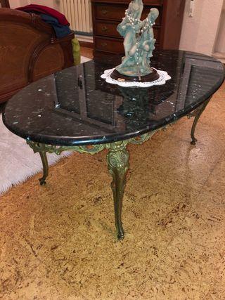 Mesa de bronce y mármol