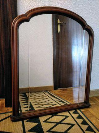Espejo antiguo vintage de madera maciza de cerezo
