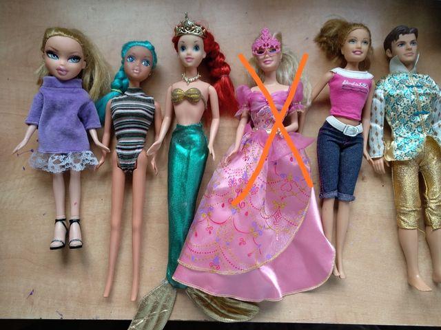 muñecas Barbie, Sirenita, Ken y Bratz