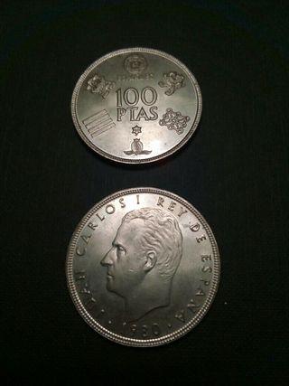 Moneda 100 pesetas mundial 82