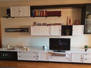 mueble salón comedor grande blanco y negro