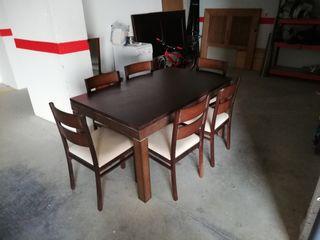 Conjunto mesa extensible y seis sillas
