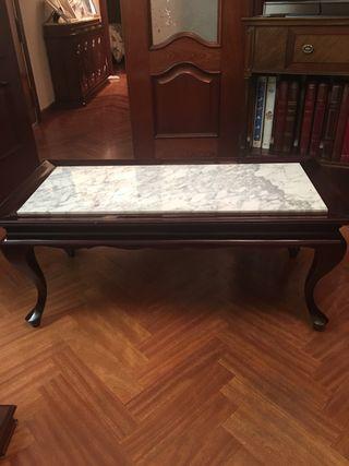 Oferta!! Mesa de madera de nogal maciza y mármol
