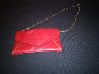 Bolso de fiesta rojo de sfera cadena dorada