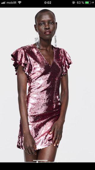 Vestido rosa zara lentejuelas XS AGOTADO TIENDA de segunda