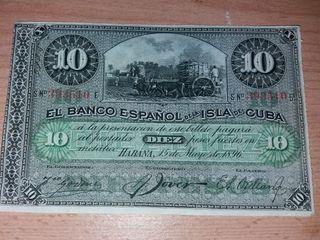 Billete banco español isla de cuba 1896