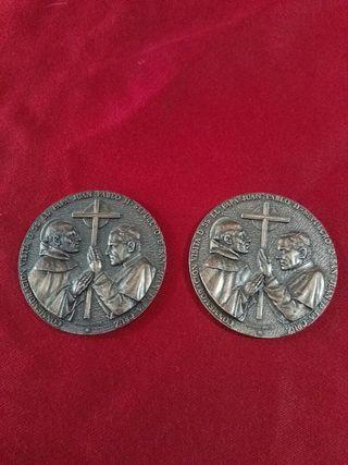 2 medallas de juan pablo || de bronce