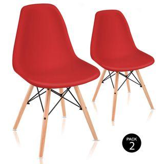 sillas modernas rojas patas de madera pack 2
