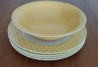 Vajilla Pontesa vichy amarilla