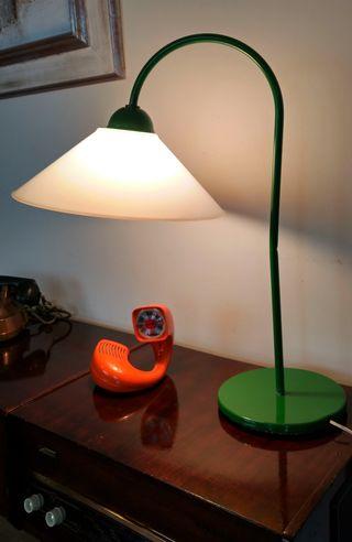 Lámpara mesa vintage años 70 verde
