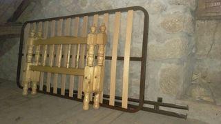 somier cama 90x180 con cabeceros de madera