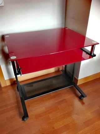 Mesa de estudio juvenil con cristal templado rojo