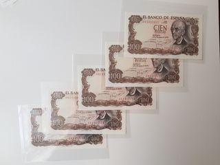 Quinteto billetes 100 pesetas 1970 sin circular