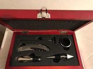 set accesorios vino NUEVO caja madera