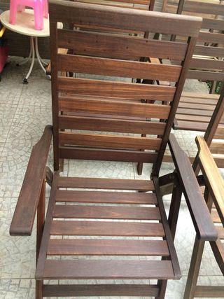 Conjunto de 6 sillas reclinable de teca.