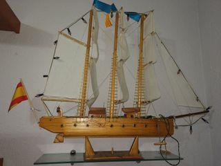 Maqueta barco hecha a mano 90 cm largo x70 cm alto