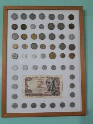 Cuadro con distintas monedas españolas desde 1937