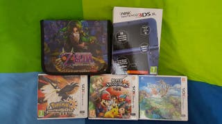 New nintendo 3DS XL + 3 juegos + cargador + funda