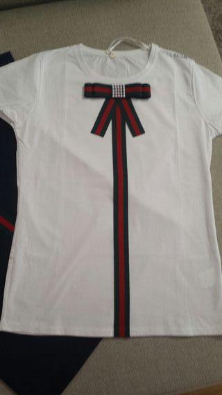lote de camisetas manga corta con lazo tipo Gucci